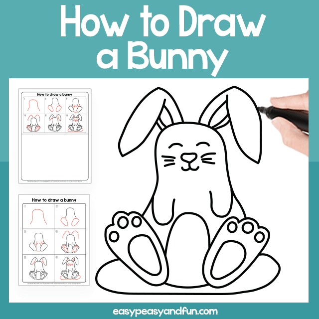 Bunny Guided Drawing Printable