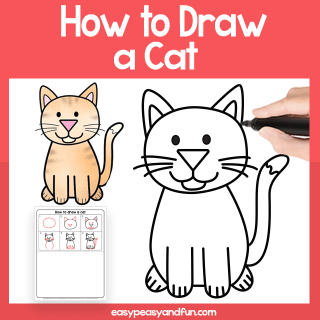 Cat Guided Drawing Printable