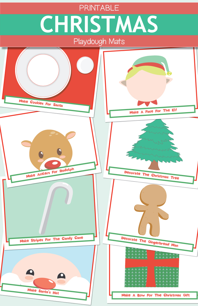 Printable Christmas Play dough Mats