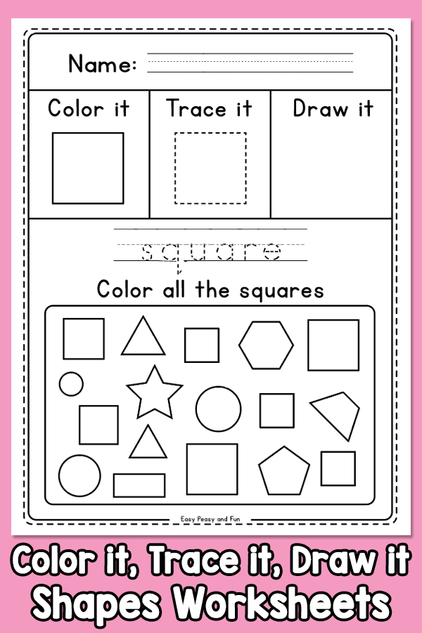 Color it, Trace it Draw it - Shapes Worksheets - great for revision