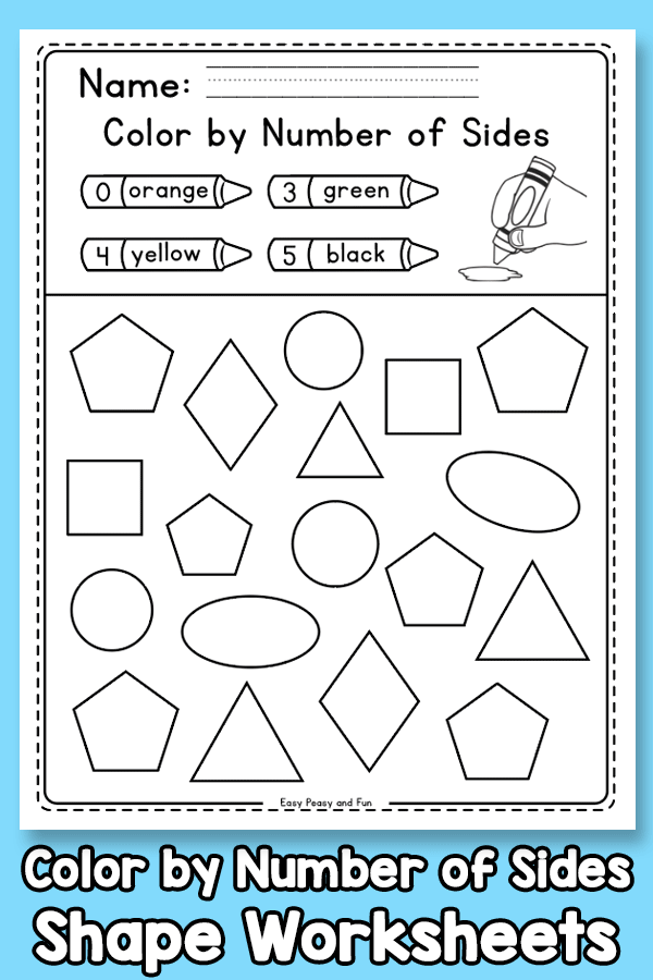 Color by Number of Sides - Shape Worksheets