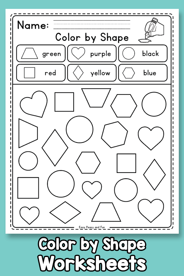 Color by Shape Worksheets for Preschool and Kindergarten