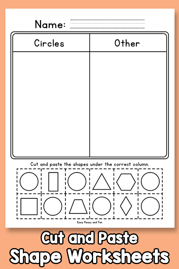 Cut and Paste - Shape Worksheets for Kindergarten and First Grade