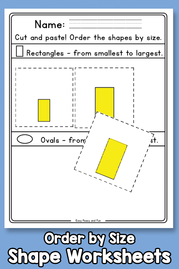 Cut and Paste - Order by Size - Shape Worksheets