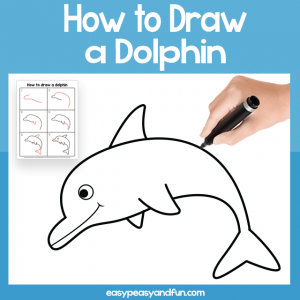 Dolphin Guided Drawing Printable