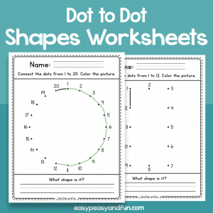 Dot to Dot Shapes Worksheets