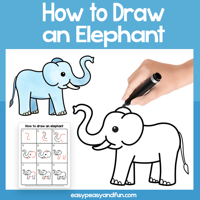 Elephant Guided Drawing Printable