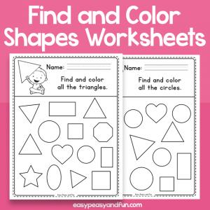 Find and Color - Shapes Worksheets