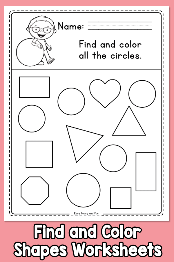 Find and Color all The Shapes Worksheets - Kindergarten and Grade 1