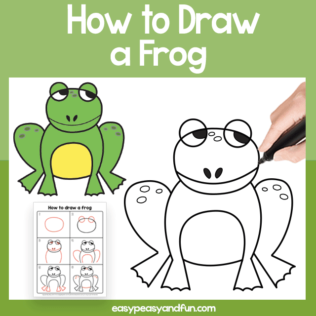 Frog Guided Drawing Printable