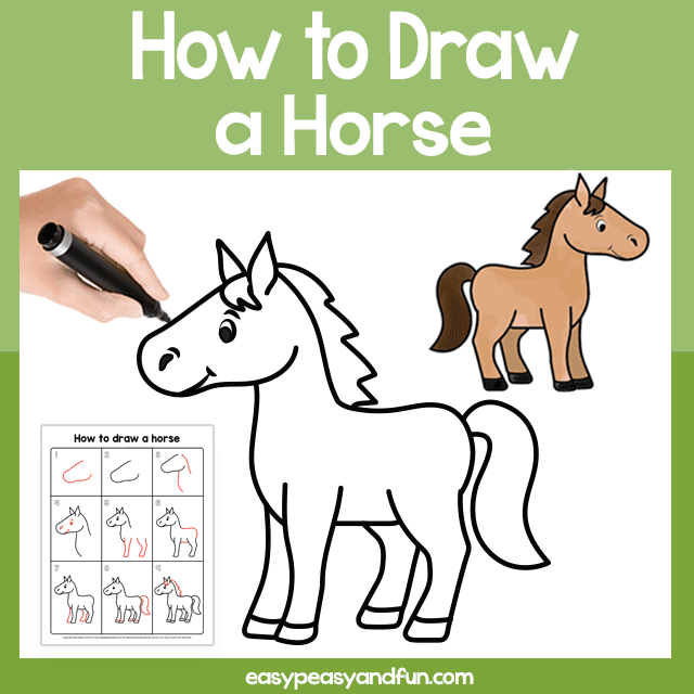 Horse Guided Drawing Printable