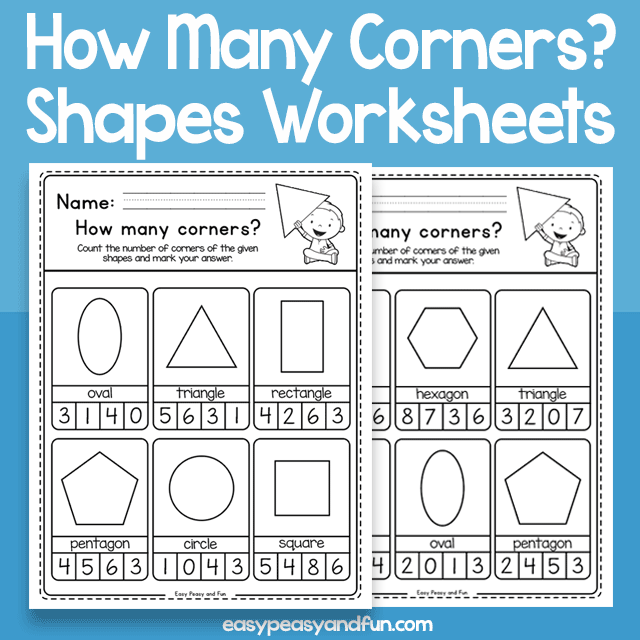How Many Corners Shapes Worksheets