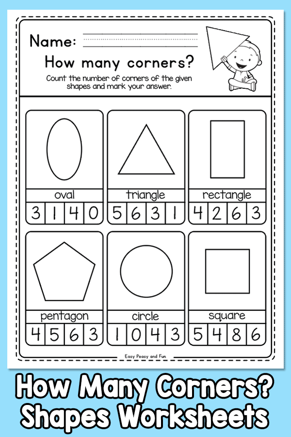 How Many Corners - Shapes Worksheets for Kindergarten and First Grade