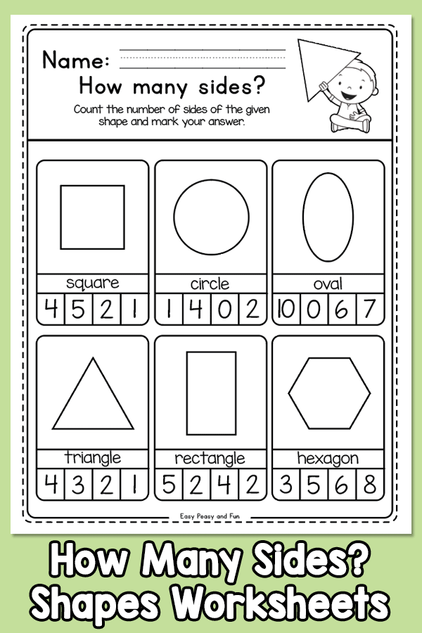 How many sides does a shape have? Shapes worksheets for kindergarten and first grade