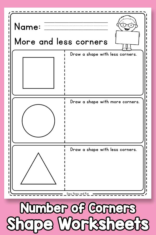 Number of Corners Shapes Worksheets
