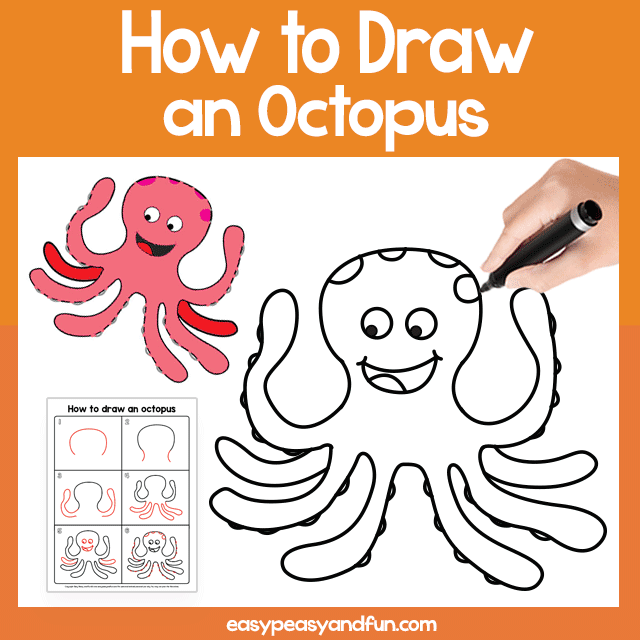 image relating to Printable Octopus titled Octopus Guided Drawing Printable Uncomplicated Peasy and Enjoyment Subscription