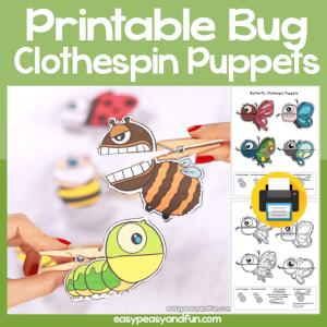 Printable Bug Clothespin Puppets