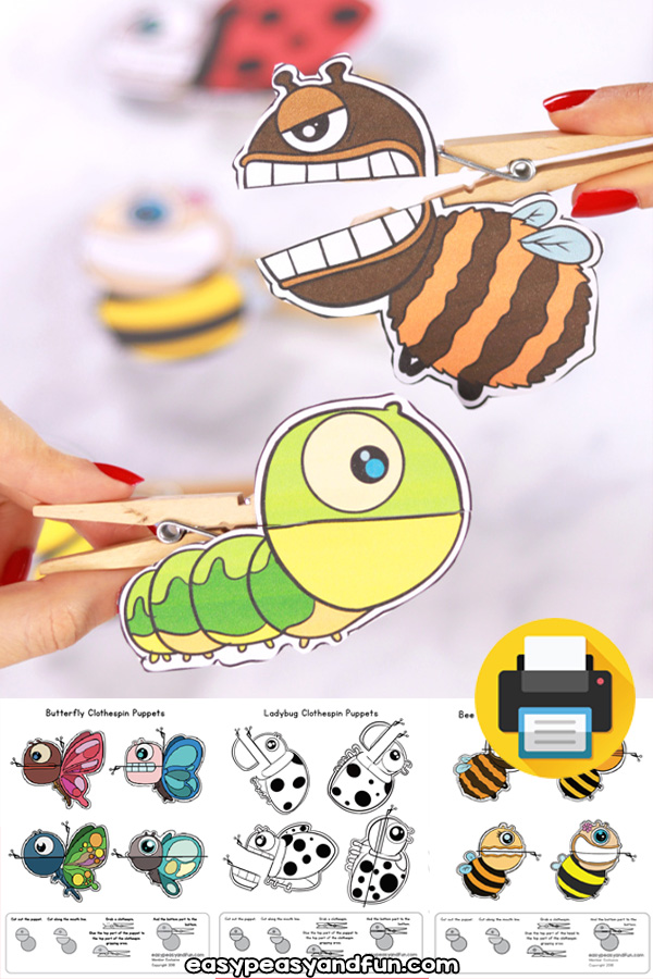 Printable Clothespin Puppets - Bugs - Bee, Caterpillar, Ladybug and Butterfly - Clothespin Crafts for Kids