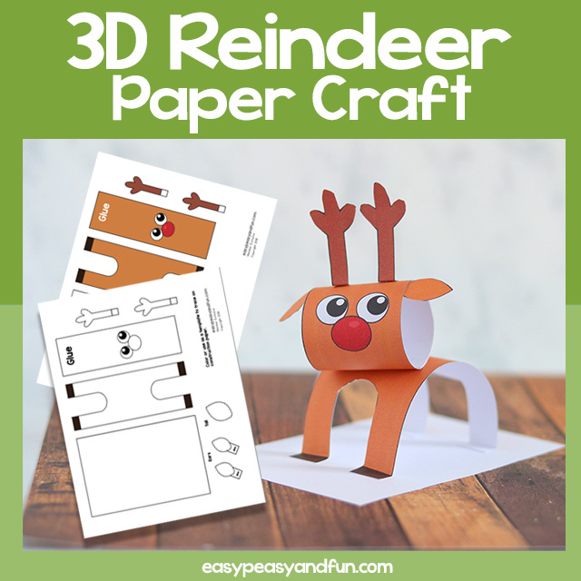 Reindeer 3D Paper Craft Template