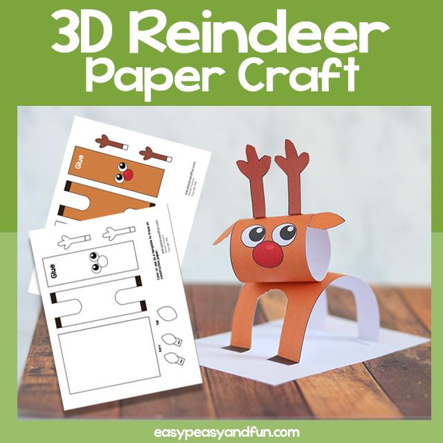 Reindeer 3D Paper Craft Template