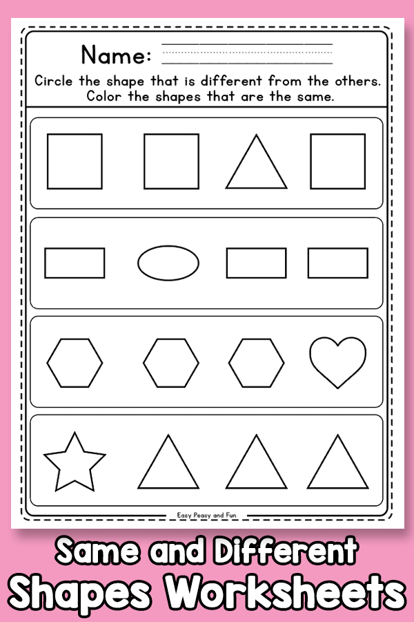 Same and Different Shapes Worksheets