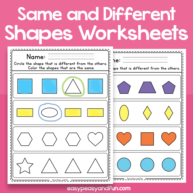 Same and Different Shapes - Worksheets