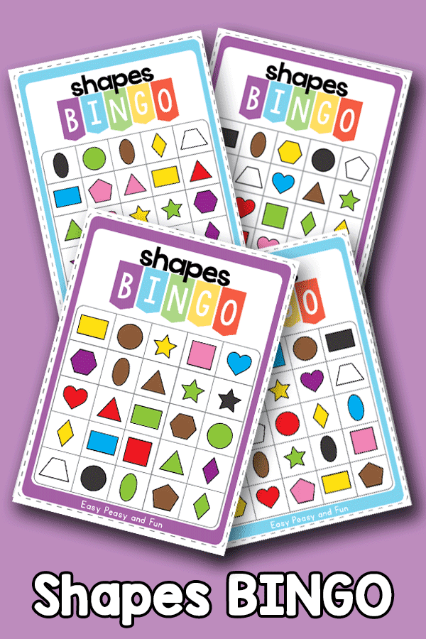 2D shapes and colors bingo cards - fun bingo game to review shapes