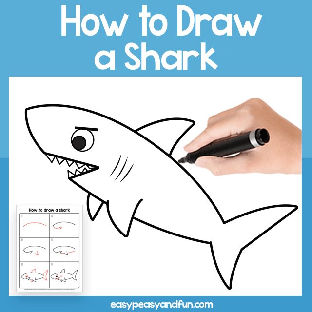 Shark Guided Drawing Printable