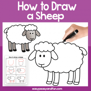 Sheep Guided Drawing Printable