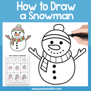 Snowman Guided Drawing Printable
