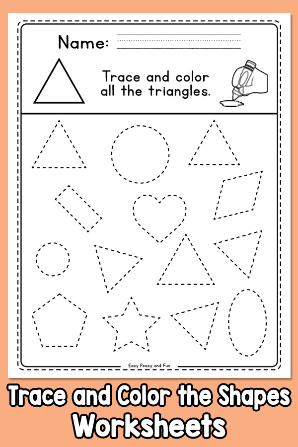 Find, Trace and Color the Shapes Worksheets  Preschool and Kindergarten