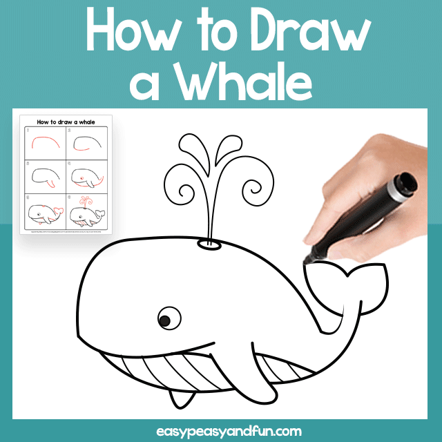 Whale Guided Drawing Printable