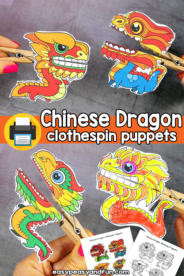 Chinese New Year Craft - Printable Chinese Dragon Clothespin Puppets