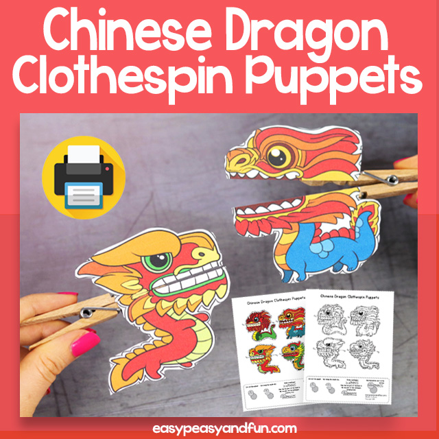 Printable Chinese Dragon Clothespin Puppets