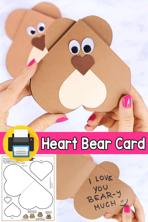V-day Card Heart Bear Craft for Kids