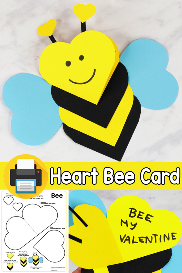 V-day Card Heart Bee Craft for Kids
