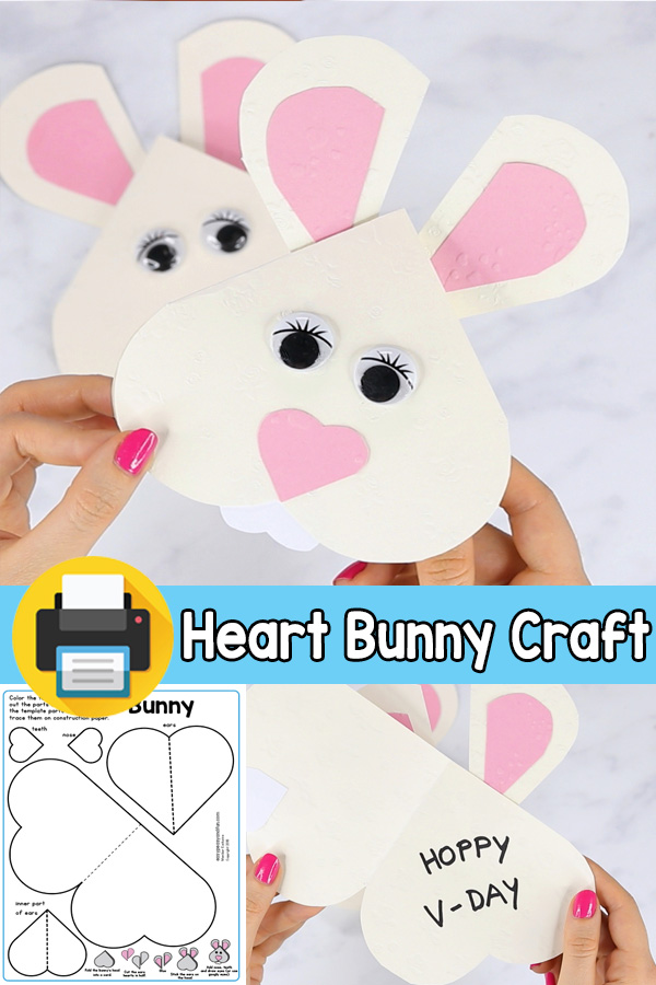 V-day Card Heart Bunny Craft for Kids