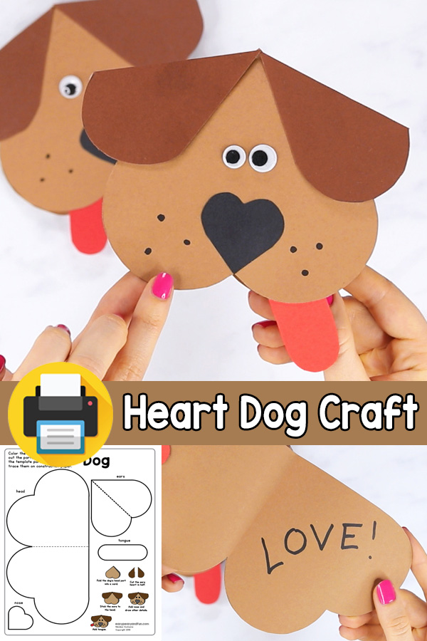 V-day Card Heart Dog Craft for Kids