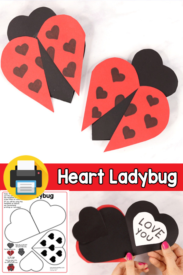 V-day Card Heart Ladybug Craft for Kids