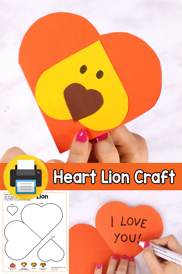 V-day Card Heart Lion Craft for Kids