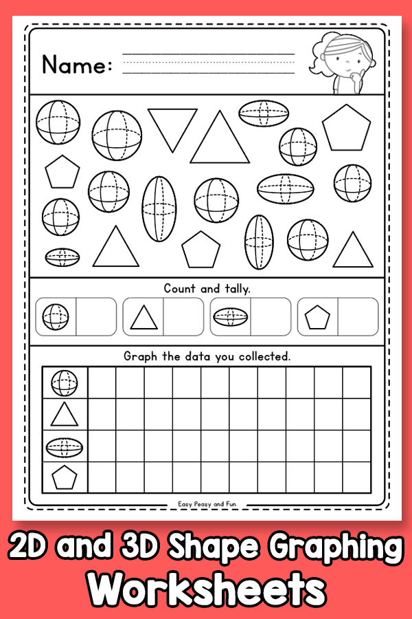 2D and 3D Shape Graphing Worksheets
