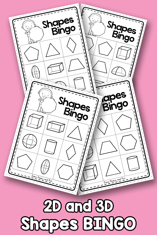 2D and 3D Shapes BINGO Black and White 3x3