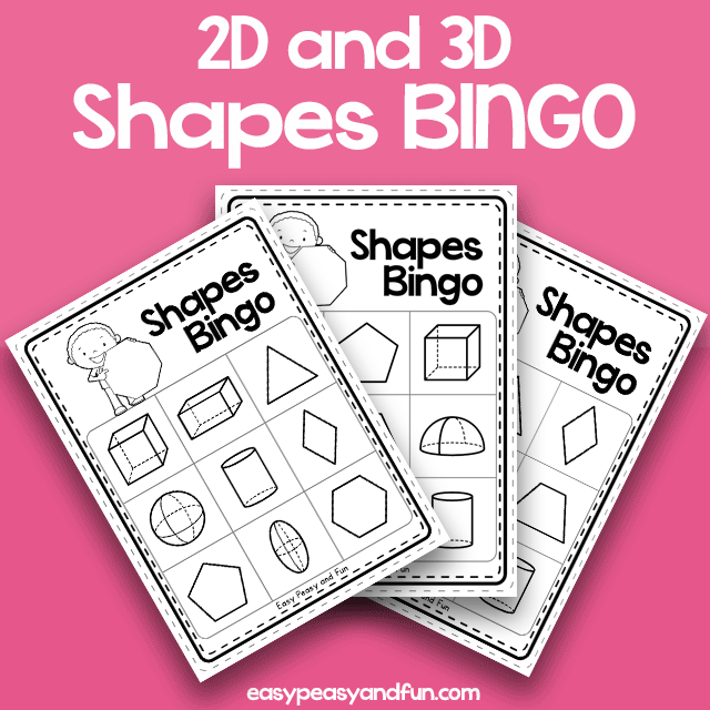 2D and 3D Shapes BINGO - Black and White 3x3