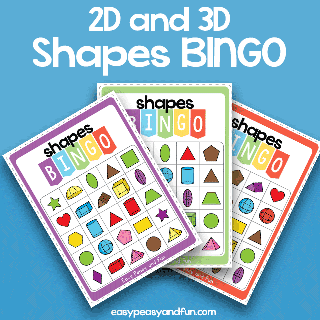 2D in 3D Shapes BINGO Colored