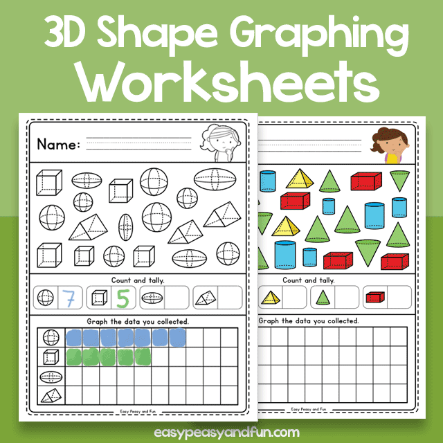 3D Shape Graphing Worksheets