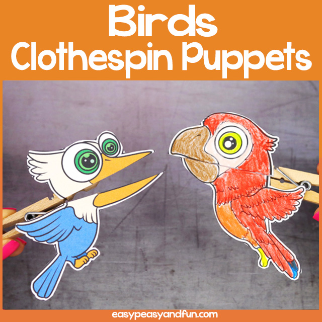 Birds Clothespin Puppets