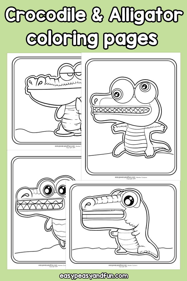 Printable Crocodile and Alligator Coloring Pages