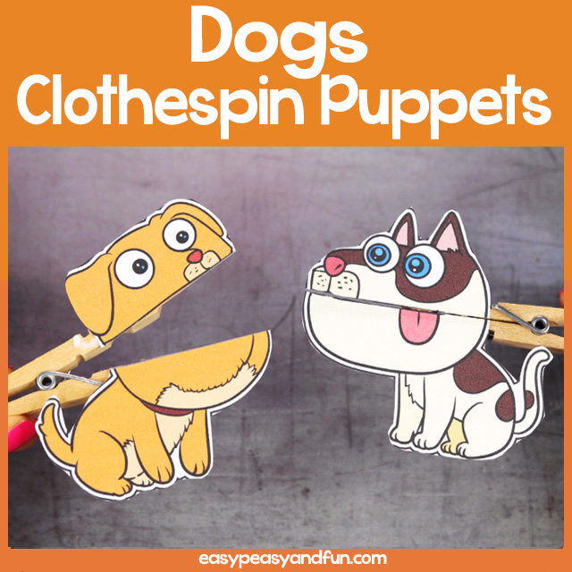 Dog Clothespin Puppets