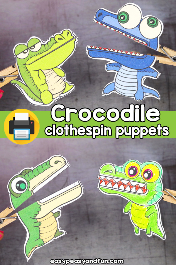 Printable Alligator and Crocodile Clothespin Puppets