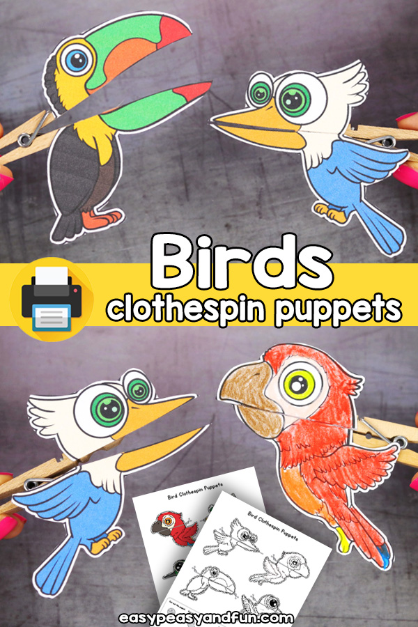Printable Birds Clothespin Puppets